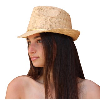 Palms Sand Women's Raffia Fedora Sun Hat
