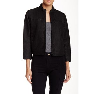Tahari Women's Black Lamp Leather Reese Jacket