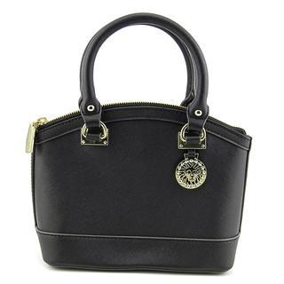 Anne Klein Women's New Recruits Dome Satchel Black Faux Leather Handbag
