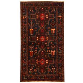 Herat Oriental Afghan Hand-knotted Tribal Balouchi Wool Rug (3'8 x 6'9)