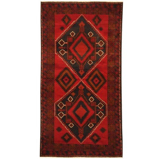 Herat Oriental Afghan Hand-knotted Tribal Balouchi Wool Rug (3'10 x 7')