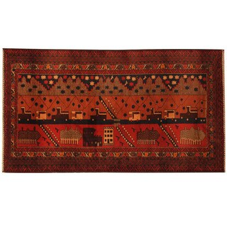 Herat Oriental Afghan Hand-knotted Tribal Balouchi Wool Rug (3'9 x 6'8)