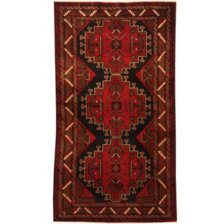 Herat Oriental Afghan Hand-knotted Tribal Balouchi Wool Rug (3'8 x 6'6)
