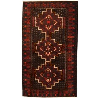 Herat Oriental Afghan Hand-knotted Tribal Balouchi Wool Rug (3'6 x 6'1)