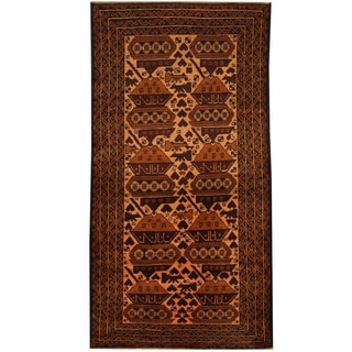 Herat Oriental Afghan Hand-knotted Tribal Balouchi Wool Rug (3'6 x 6'9)