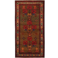 Herat Oriental Afghan Hand-knotted Tribal Balouchi Wool Rug (3'4 x 6'5)