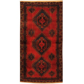 Herat Oriental Afghan Hand-knotted Tribal Balouchi Wool Rug (3'5 x 6'5)