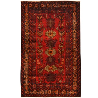 Herat Oriental Afghan Hand-knotted Tribal Balouchi Wool Rug (3'8 x 5'8)