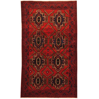 Herat Oriental Afghan Hand-knotted Tribal Balouchi Wool Rug (4' x 6'8)