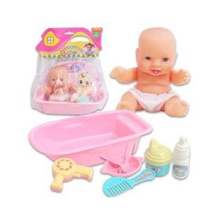 Pink Plastic 5-inch Baby Doll Bath Tub Set