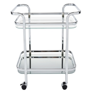 Zedd Silvertone/Clear Metal/Glass 2-tier Trolley