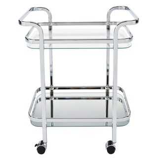 Silver Orchid Heston Metal/ Glass 2-tier Trolley