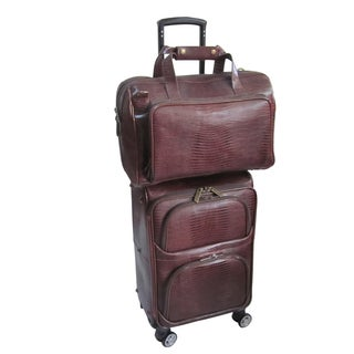 Amerileather Chestnut Brown Leather Lizard-print 2-piece Spinner Luggage Set