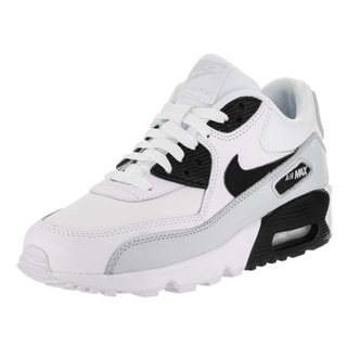 Nike Kids' Air Max 90 LTR (GS) White Leather Running Shoe