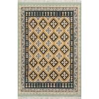 Momeni Caravan Gold Hand-Woven Wool Reversible Rug (7'6 X 9'6)