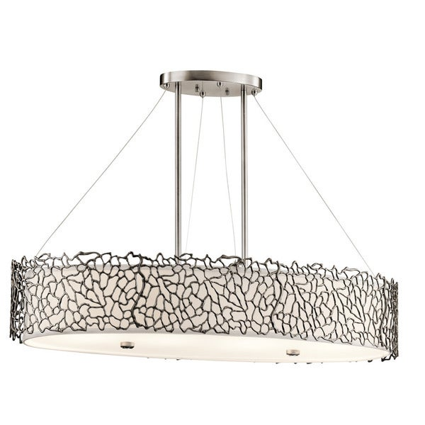 Kichler Lighting Silver Coral Collection 4-light Classic Pewter Oval Chandelier/Pendant