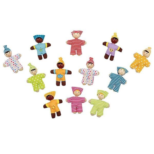Hape 'Happy Babies' Pocket Dolls (12-Piece Set)