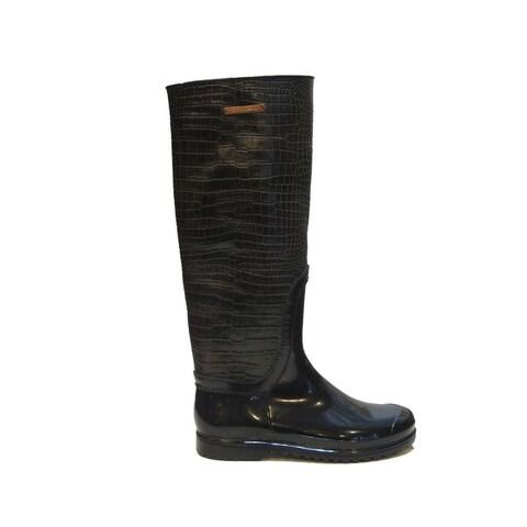 Dolce Gabbana Women's Grey Rubber Croc Patent Rain Boots