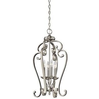 Gracewood Hollow Feraoun Collection 4-light Brushed Nickel Foyer Pendant - Thumbnail 0
