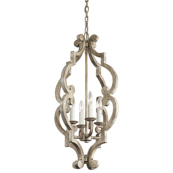 Kichler Lighting Hayman Bay Collection 4-light Distressed Antique White Foyer Pendant