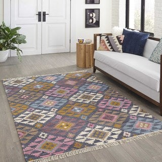 "Hand-Woven Tribal Elegance Geometric Multi Wool Rug (3'9"" x 5'9"")"