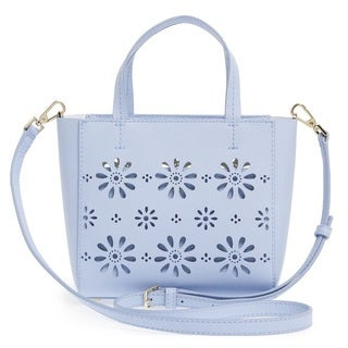Kate Spade New York Faye Drive Small Hallie Perforated Sky Blue Leather Crossbody Handbag