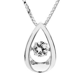 Sterling Silver Created White Sapphire Dancing Stone Pendant Necklace