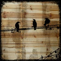 Marmont Hill Vicki Butler 'Winged Gossip' Painting Print on Natural Pine Wood