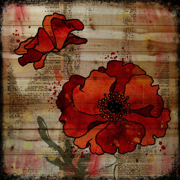 Marmont Hill - Handmade Vicki Butler Dark Red Poppies Painting Print on Natural Pine Wood