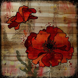 Marmont Hill Vicki Butler 'Dark Red Poppies' Painting Print on Natural Pine Wood
