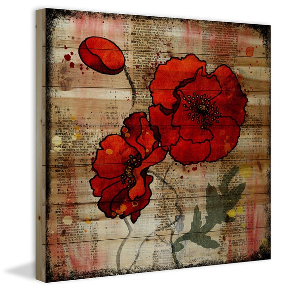 Marmont Hill Vicki Butler 'Poppy Talk 2' Painting Print on Natural Pine Wood