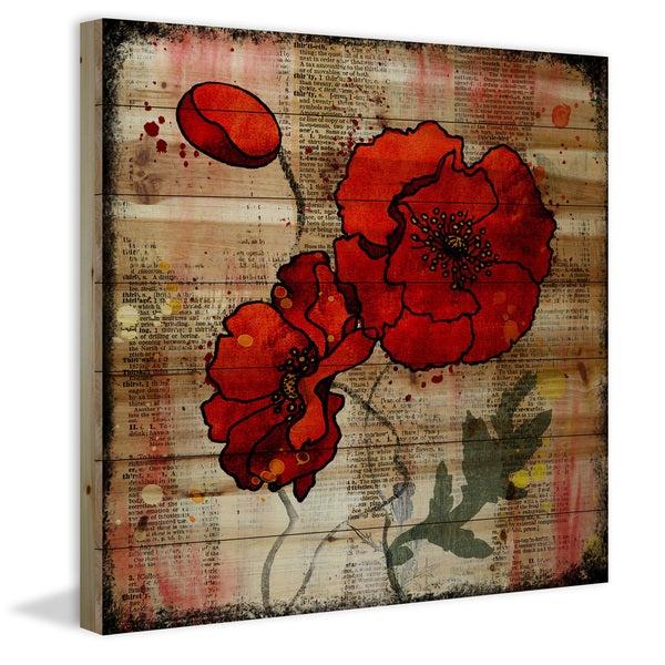 Marmont Hill - Handmade Vicki Butler Poppy Talk 2 Painting Print on Natural Pine Wood