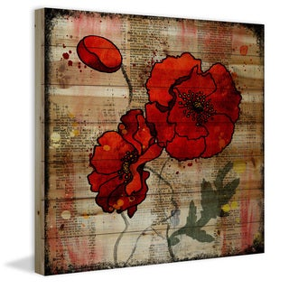 Marmont Hill - 'Poppy Talk 2' by Vicky Butler Painting Print on Natural Pine Wood