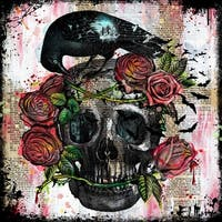 Marmont Hill Vicki Butler 'Skull Roses' Painting Print on Wrapped Canvas - Multi-color