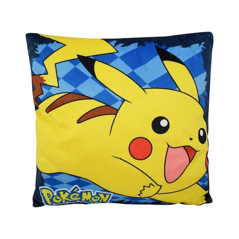 Pokemon Champ Pikachu Multicolored Polyester Kids' Throw Pillow - Blue