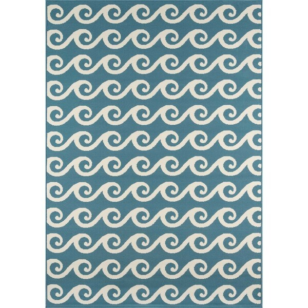 "Momeni Baja Waves Blue Indoor/Outdoor Area Rug - 6'7"" x 9'6"""
