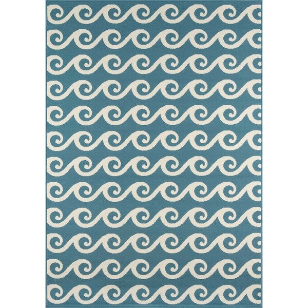 """Momeni Baja Waves Blue Indoor/Outdoor Area Rug - 6'7"""" x 9'6"""""""