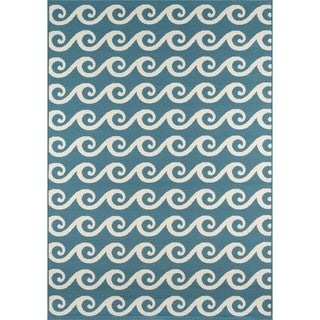 "Machine Made Indoor/Outdoor Nautical Waves Rug (6'7"" x 9'6"")"