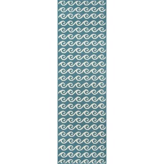 "Machine Made Indoor/Outdoor Nautical Waves Rug (2'3"" x 7'6"")"