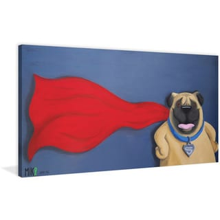Marmont Hill - 'Super Pug' by Mike Taylor Painting Print on Wrapped Canvas