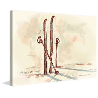 Marmont Hill - 'Skis' by Marie-Eve Pharand Painting Print on Wrapped Canvas - Multi-color