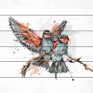Marmont Hill - 'Deux Oiseaux' by Marie-Eve Pharand Painting Print on White Wood