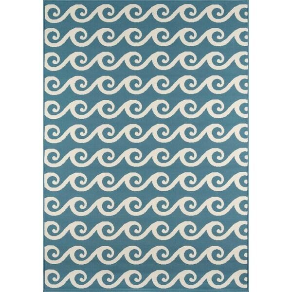 Momeni Baja Waves Blue Indoor/Outdoor Area Rug  (2'3 x 4'6)