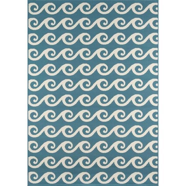 """Momeni Baja Waves Blue Indoor/Outdoor Area Rug - 2'3"""" x 4'6"""""""