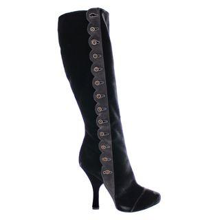 Dolce & Gabbana Women's Black/Grey Velvet Size 9 Tall Boots