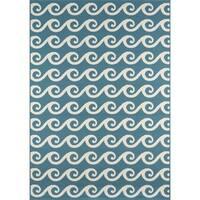 """Momeni Baja Waves Blue Indoor/Outdoor Area Rug - 1'8"""" x 3'7"""""""