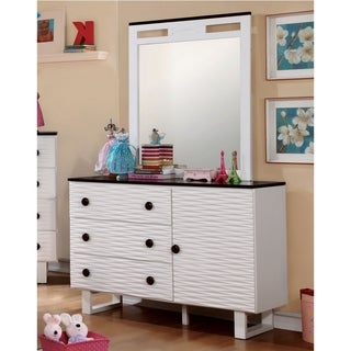 Furniture of America Trisha Contemporary 2-piece Textured White Dresser and Mirror Set