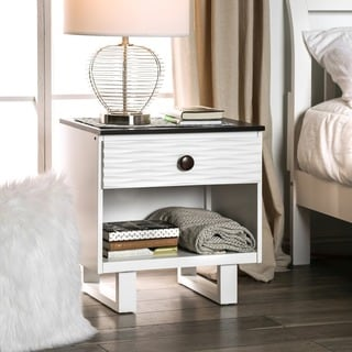 Furniture of America Trisha Contemporary White Youth Nightstand with USB/Power Outlet and LED Light