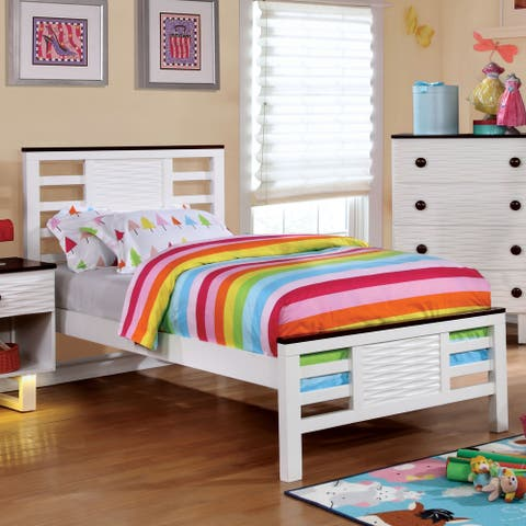 Furniture of America Tish Contemporary White Full Solid Wood Panel Bed