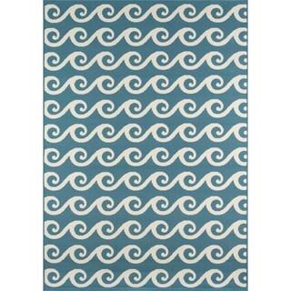 Momeni Baja Waves Blue Indoor/Outdoor Area Rug (7'10 x 10'10)